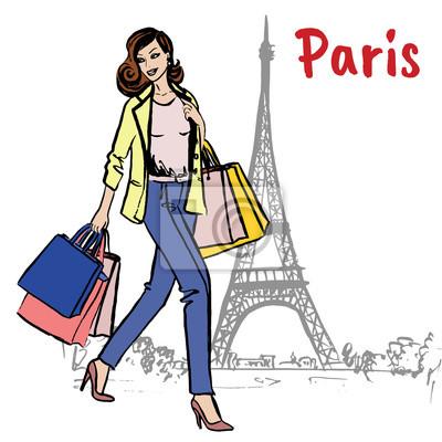 Frau mit Einkaufstüten in Paris