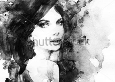 Poster Frau Porträt abstraktes Aquarell Mode Hintergrund