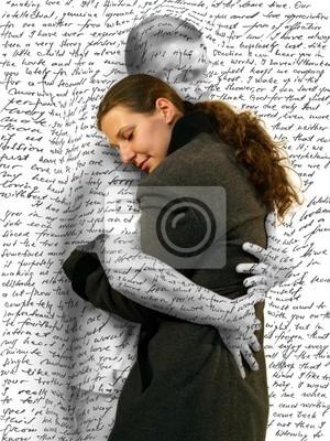 Frau umarmt einen mann vermisst ihn lieben brief wandposter • poster ...