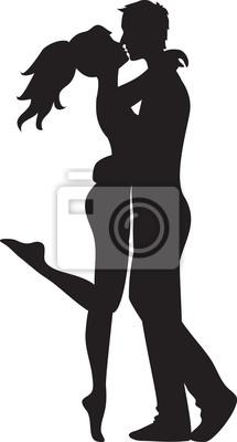 Frau und Mann küssen