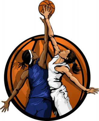 Poster Frauen-Basketball-Sprungs-Ball Farbe
