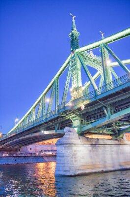 Freedom Bridge at night in Budapest, Hungary