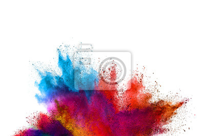 Poster Freeze motion of colored powder explosions isolated on white background.