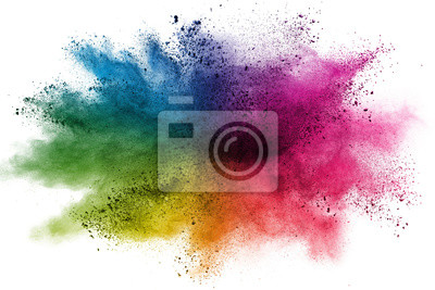 Poster Freeze motion of colorful color powder exploding on white background.  Paint Holi.