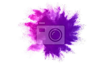 Poster Freeze motion of purple color powder exploding on white background.