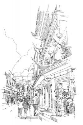 Poster Freihandskizze Chinesische Gebäude und Stadtstraße