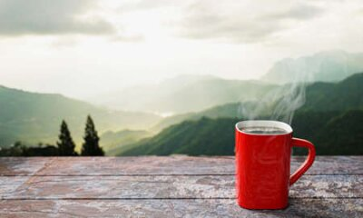 Poster freshly brewed coffee or espresso into a red cup and coffee mug. Hot coffee in a mug placed on the tabletop or wooden balcony. Morning mountain view, morning sunshine. 3D Rendering