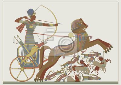 Fresko des Pharaos Ramses im Kampf