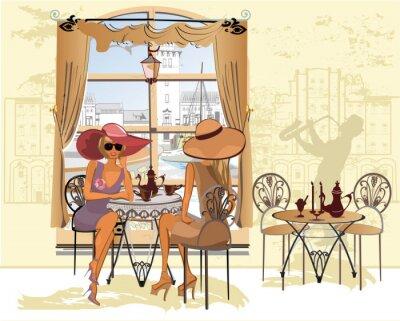 Poster Freunde im Café trinken Kaffee.