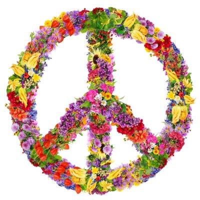 Poster Frieden Blumensymbol