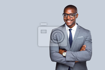 Poster Friendly isolated portrait of african american business man, sales, representative