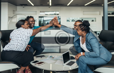 Poster Friendly successful all african business team give high five together in office, excited happy employees celebrating corporate victory, african workers teambuilding concept