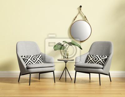 Poster Frischen Stil, Romantische Interieur Mit Zwei Grauen Sofas