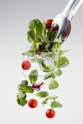 frischer Salat Absturzes aus einer Klemme
