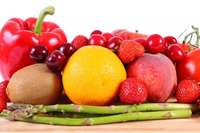Poster Frisches Obst und Gemüse, gesunde Ernährung