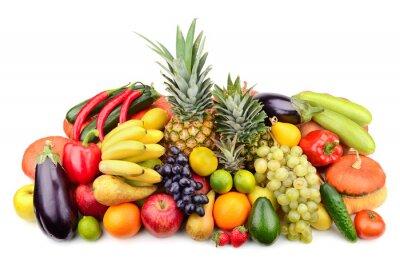 Poster frisches Obst und Gemüse isoliert auf weiß