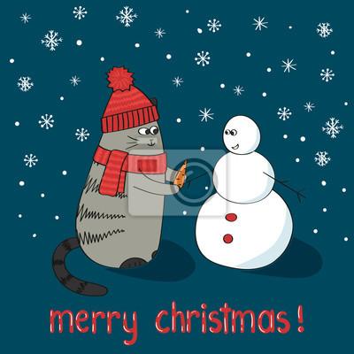 Frohe Weihnachten Katze.Poster Frohe Weihnachten Karte Vorlage Cute Cartoon Katze Und Schneemann