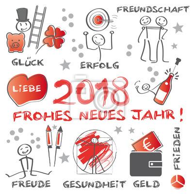 Frohes neues jahr 2018 - illustration mit wünschen für ...