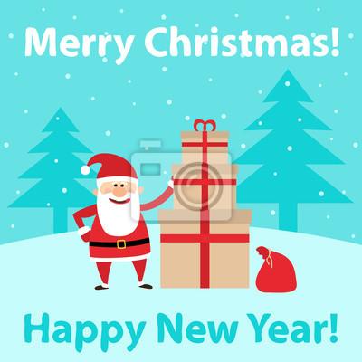 Poster Fröhliche Weihnachten. Santa claus mit geschenkboxen. Frohes neues Jahr. Weihnachten Hintergrund