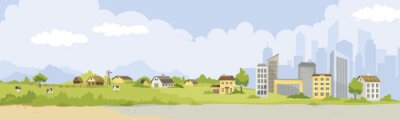 Poster From village to city. Vector illustration, urban and rural landscapes.