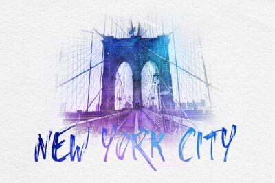 Poster Frontansicht der Brooklyn-Brücke mit NYC Text