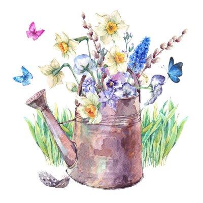 Poster Frühling Bouquet mit Narzissen, Stiefmütterchen, Muscari und Schmetterlinge