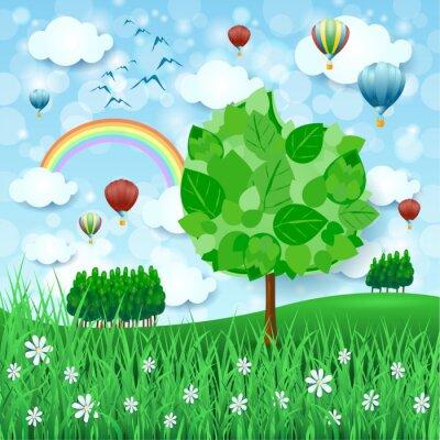 Poster Frühlingshintergrund mit großen Baum- und Heißluftballonen