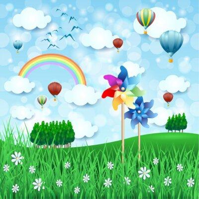 Poster Frühlingslandschaft mit Feuerrädern und Heißluftballons
