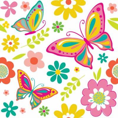 Poster Frühlingsmuster mit netten Schmetterlingen verwendbar für Geschenkverpackung oder Tapetenhintergrund. EPS 10 & HI-RES JPG Inbegriffen