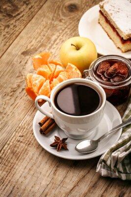 Poster Frühstück mit Kaffee und Obst