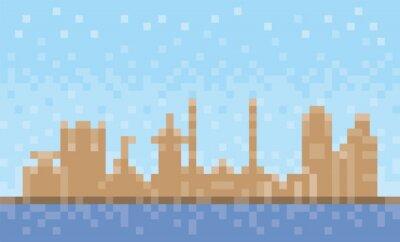 Fujairah city skyline, pixel art background