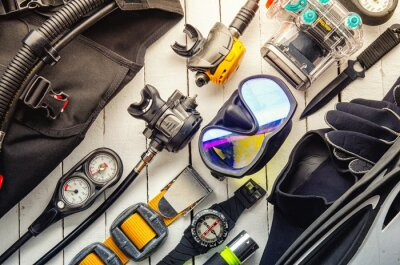 Poster Full set of scuba diving equipment Fins, Regulator/Octopus, Depth Gauge, Balanced Regulator,Power Inflator, Dive Mask and Snorkel , aqualung. Scuba gear and accessories.
