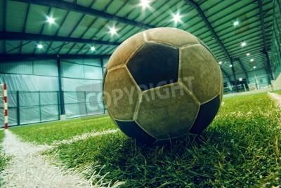 Poster Fußball auf grünem Gras in einem Indoor-Spielplatz