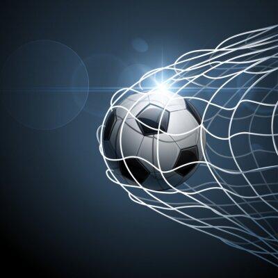 Poster Fußball Ball ins Tor. Vektor