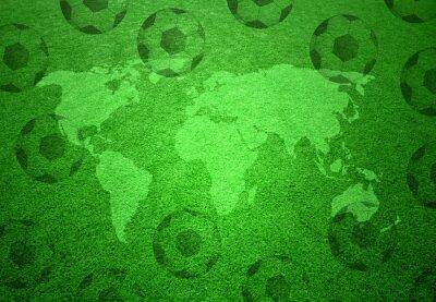 Poster Fußball-Gras-Feld mit Weltkarte und Fußball-Bälle Muster.