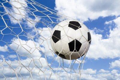 Poster Fußball im Zielnetz