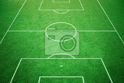 Fussball Spielfeld Boden Linien Auf Sonnigen Gras Hintergrund