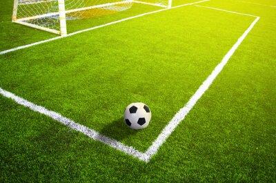 Poster Fußball Wiese mit Kennzeichnung und Ball, Sport