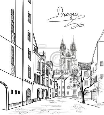 Fußgängerzone in der alten europäischen Stadt mit Turm im Hintergrund. Altstadt von Prag, Tschechische Republik. Historische Stadtstraße. Reise Prag Hintergrund.