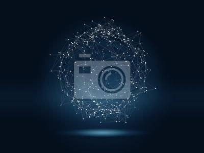 Poster Futuristische Hight-Technologie Hintergrund mit verbundenen glühenden Punkte und Linien. Virtuelle 3D-Darstellung der polygonalen Sphäre als globales Netzwerk-Konzept.