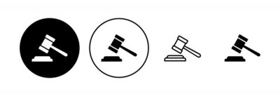 Poster Gavel icon set. judge gavel icon vector. law icon vector. auction hammer