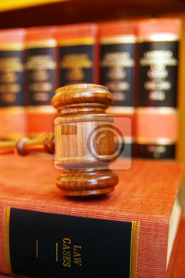 gavel on law books