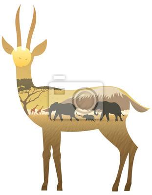 Gazelle Landschaft / afrikanische Landschaft in Silhouette der Gazelle. Keine Transparenz verwendet. Grundlegende (lineare) Gradienten verwendet.