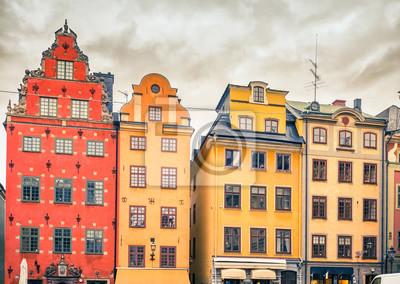 Gebäude auf Big Square (Stortorget) in der Altstadt (Gamla Stan) von Stockholm, Schweden