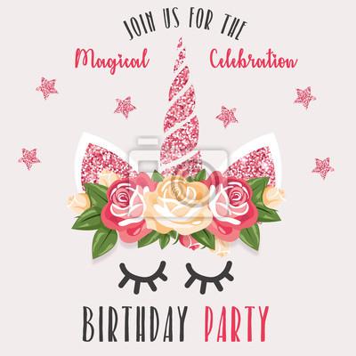 Geburtstags Party Einladung Mit Einhorn Wandposter Poster Nubes