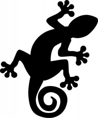 Poster Gecko Eidechse Silhouette