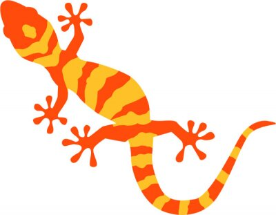 Poster Gecko with orange and yellow pattern
