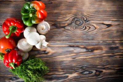 Poster Gemüse auf dem hölzernen Hintergrund