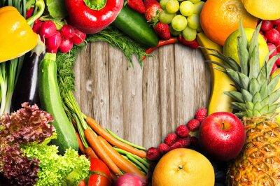 Poster Gemüse und Obst Heart Shaped