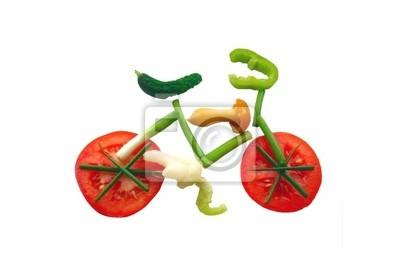 Gemüsestreifen in Form eines Fahrrades